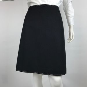Ann Taylor Topstitched Black Wool Skirt